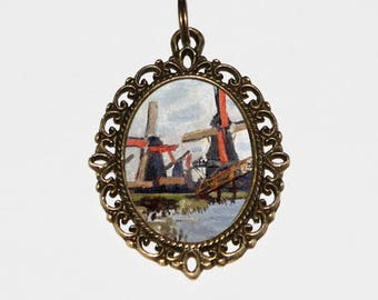 Windmill Necklace, Claude Monet, Fine Art Jewelry, Zaandam, Landscape, Bronze Oval Pendant
