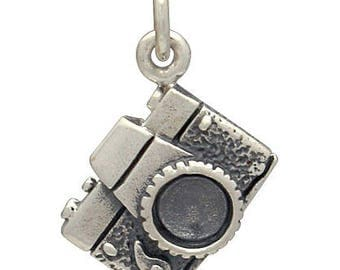 Camera Charm -17mm, Sterling Silver