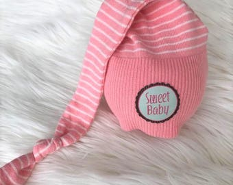 """Newborn Upcycled Knot Hat, """"Sweet Baby"""" Night Cap, Newborn Photography Prop, Baby Girl, Ready To Ship, Baby Hat"""