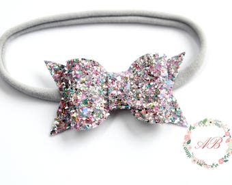 Silver Sprinkles Bow Headband - Baby Bow Headband - Glitter Bow Headband - Silver Bow Headband - Silver Glitter Bow Headband