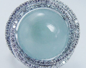 ON SALE Estate 14K White Gold 8.70cts Aquamarine Cabochon Diamonds Ring