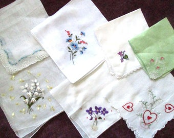 Hankies, Handkerchiefs, Hand Embroidered, Wedding, Monogram, Vintage