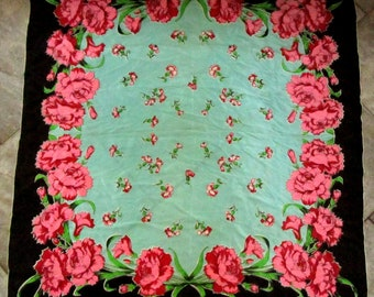 Silk Scarf with Pink Carnations