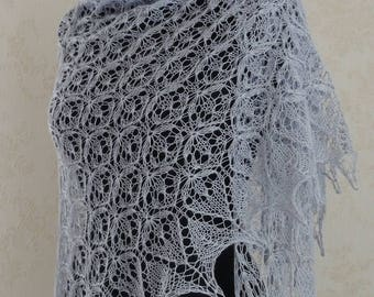 Hand knitted triangular lace shawl, luxurious baby alpaca and silk MADE  to order