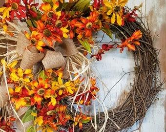 Fall Front door wreath, Fall Wreath, Wreath for front door- Wreath Great for All Year Round - Everyday Burlap Wreath, Door Wreath