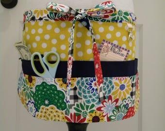 Teacher Aprons-Crafter Vendor Utility Apron-Bright Mod Floral