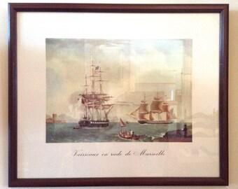 Vintage Watercolor Framed Print - Vaisseaux en Rade de Marseille - Antoine Roux - Golden Age of the Sailing Ships