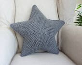 Special for  Maisie! Star pillow,crochet pillow, grey star cushion