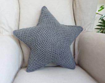 Star pillow, crochet pillow, grey star cushion