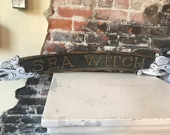 Vintage Wood Ship Sign Sea Witch Cottage Decor Cottsge Style Farmhouse okd wood sign