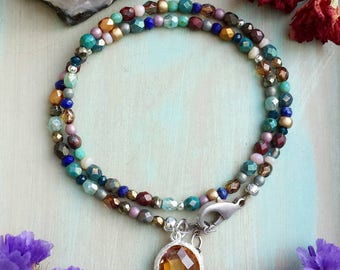 Mixed Gemstone and Glass Wrap Bracelet, One-of-a-kind