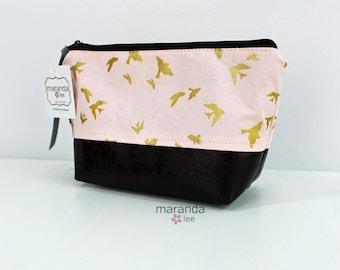AVA Small Clutch - Pink Birds with PU Leather  READY to SHIp Cosmetic Toiletries bag Travel Make Up Zipper Pouch