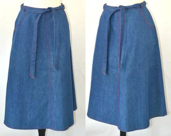 1980s Blue Chambray Jean A-Line Wrap Skirt by JG Collection by Joyce