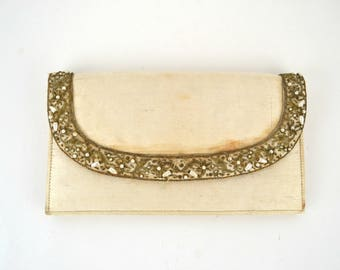 Vintage Ivory Envelope Clutch by Harilelas, Needs TLC, Imagination Play, Dress Up Box