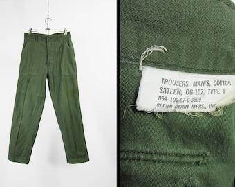 Vintage 60s Baker Pants US Army Green Cotton Utility Trousers Vietnam Era - 30 x 30