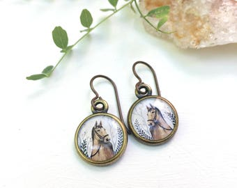 Horse Earrings, Painted Horse Print Jewelry, Equestrian Jewelry, Horse Gift