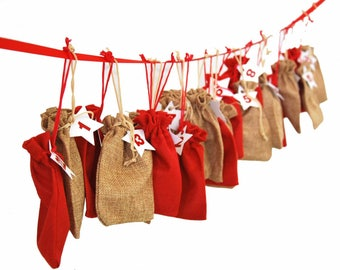 Miniblings * Advent Calender 25 pieces of Jewelry Jewellery Jute Bags Adventskalender Christmas