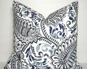FALL is COMING SALE Grey Blue Paisley Floral Pillow Cover Decorative Pillow Cover Paisley Pillow Cover Choose Size