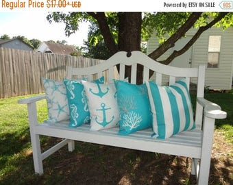 FALL is COMING SALE Outdoor Nautical Decorative Pillow Covers Starfish Seahorse Stripe Coral Blue/White Beach Ocean Pillow Covers All Sizes