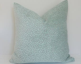Seafoam Blue Brown Spotted Textured Flocked Pillow Cover Home Decor by HomeLiving Throw Pillow Cover Size 18x18