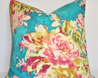 AS SEEN on The BACHELOR Turquoise Teal Blue Pink Peach Green Citrine Floral Pillow Cover Decorative Home Decor Size 20x20 22x22