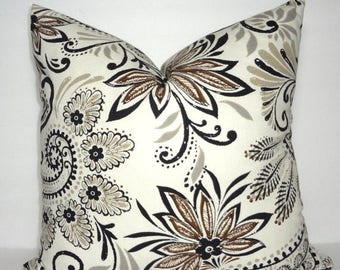 SPRING FORWARD SALE Brown Black Taupe Floral Pillow Cover Decorative Pillow Cover Paisley Pillow Cover Size 18x18