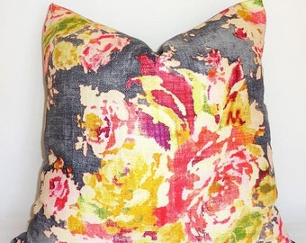 SPRING FORWARD SALE As Seen on The Bachelor Grey Peach Pink Rose Floral Pillow Cover Decorative Home Decor Size 20x20 22x22