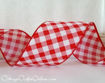 "Wired Ribbon, 2 1/2"" Red White Check Basketweave Gingham,  TEN YARDS,  ""Tablecloth"" Christmas, Summer, Picnic Check, Wire Edge Ribbon"