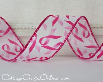 "Wired Ribbon, 1 1/2"", Pink Ribbon on White - THREE YARDS - Offray, ""Awareness"" Breast Cancer Awareness Wire Edged Ribbon"
