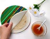 Green Tortilla Warmer - Tortillero - Tortilla Keeper -  Bread Keeper - Mexican Fabric Cozy - Tribal Ethnic Housewares -Kitchen Utensils