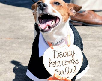 Dog Ring Bearer Photo Prop Just Hitched My Humans Got Married Wood Heart Ring Bearer Pillow Daddy, Here Comes your Girl Farmhouse Puppy