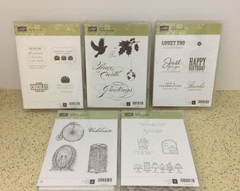 "Stampin' Up! YOUR CHOICE: ""Eat Chocolate"", ""Peaceful Season"", ""Afterthoughts"", ""Feeling Sentimental"", ""Birthday Bakery "" Clear Mount Sets"