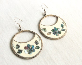 Large Mexican Dangle Earrings Vintage Alpaca Abalone White Resin Large Statement Flower Dangles Boho Chic