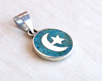 Turquoise Moon Necklace Vintage Mexican Sterling Silver Sky Star Jewelry Blue Stone Round Disc