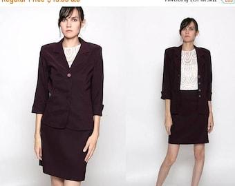 HUGE SALE Vintage 90s Plum Purple 2 Piece Business Suit / Skirt Jacket