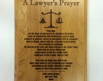 """A Lawyer's Prayer Engraved on 8"""" by 10"""" Red Alder with Balance Image, with lady justice."""