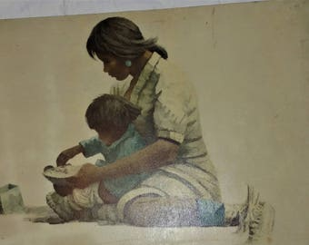 Canvas Print Eustace P. Ziegler Indian Mother and Child (Tanana)
