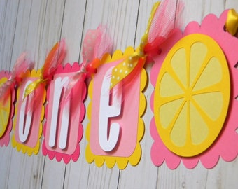 Pink Lemonade High Chair Banner, Pink Lemonade Mini Banner, Pink Lemonade Party Decorations, Pink Lemonade First Birthday