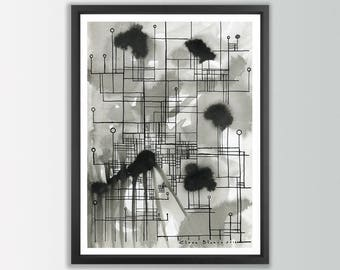 Black and White Art Prints. Abstract art prints. Ink Prints. Modern abstract art. Living room wall art. Black and white print. Modern prints