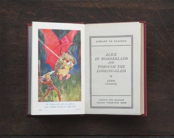 Alice in Wonderland and Through the Looking-Glass 1950s vintage book by Lewis Carroll illustrated by Harry Rountree