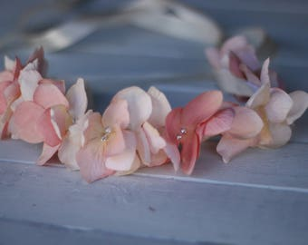 Tie Back Floral Headband,peach  Headband, Photo prop, Light  peach flower girl