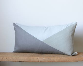 Lumbar Pillow Cover/Triangle/Three Shades of Grey/Modern/Minimalistic/Stylish Accent Pillow/New Collection/Zigazag Studio Design