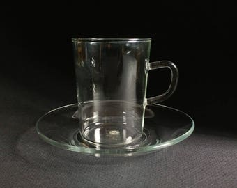 Schott Mainz cup and saucer, glass coffee mug set, glass teacup, Jenna glass, Germany