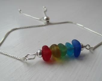 Sterling Silver Rainbow Sea Glass Bracelet