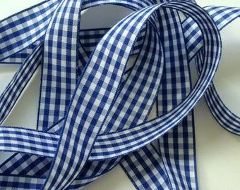 "7/8"" Gingham Ribbon - Cobalt Blue and White - 3 Yards"