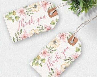Thank you printable tags, handwritten tags, floral thank you tag, printable tags, favor tags, printable gift tags, thankyou tags