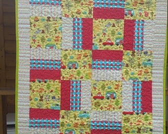 Fun bright baby for toddler quilt peace with fun fabric from Michael Miller and Robert Kaufman deer camping