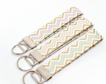 Metallic Gold Chevron Fabric Key Chain / Key Fob / Wristlet - Choose Your Fabric and lenght