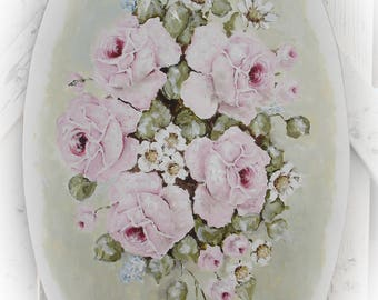 Original Shabby Style French Vintage Aubusson inspired Rose Oval on Board ready to hang