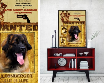 Leonberger Art Vintage Movie Style Poster Canvas Print - Butch Cassidy and the Sundance Kid NEW Collection by Nobility Dogs